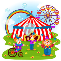 funny clowns and circus - vector illustration, eps