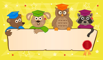 Animal Graduation Banner - Cute animals with graduation caps holding a blank banner with certificate seal in the corner. Eps10