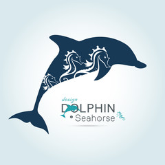 seahorse in dolphin spacing concetp, design element