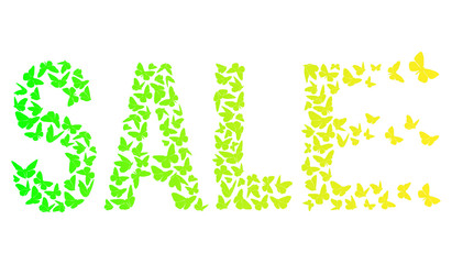 decorative inscription SALE With Green And Yellow Butterflies