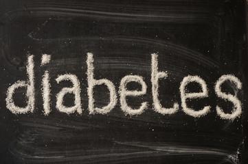 Diabetes word writen with sugar