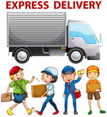 People working for express delivery
