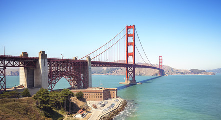 Panoramic view of the Golden Gate Bridge in San Francisco, USA.