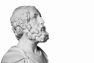 White marble bust of the greek poet Homer isolated on white