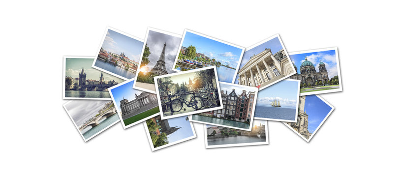 Postcard collage from Europe.