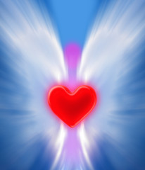 Abstract angel shape holding a red heart, a symbol of divine love