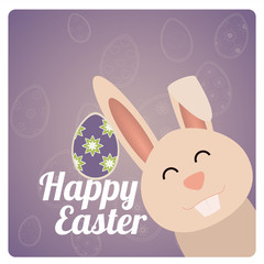 Happy Easter design in purple and degrade color