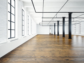 Photo of empty interior in modern building.Open space loft. Empty white walls. Wood floor, black beams,big windows. Horizontal, blank mockup. 3d rendering