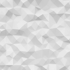 Photo of highly detailed polygon. White geometric rumpled triangular low poly style. Square. 3d render