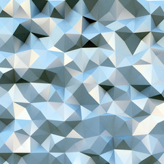 Photo of highly detailed multicolor polygon. Blue geometric rumpled triangular polygons style. Square mock up. 3d render