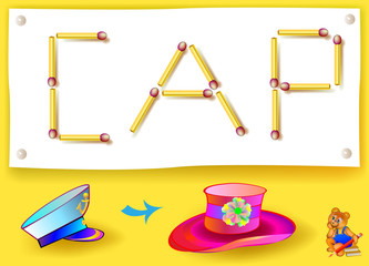 Logic game for learning words of English language. Move four matchsticks to make hat from cap. Vector image.