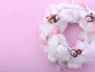 Pink and White Easter Wreath