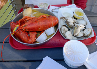 Fresh lobster and oyster meal at restaurant