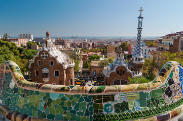 Elevated view of the main entrance of  Parc Guell, Antonio Gaudi's architectural masterpiece.