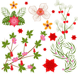 Colorful floral collection with leaves and flowers Spring or summer design for invitation, wedding or greeting cards