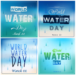 Set of blue backgrounds with text for world water day