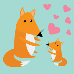 Fox mother and baby. Cute cartoon character set. Forest animal collection. Pink hearts Blue background. Greeting card Flat design