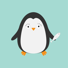 Penguin with fish. Cute cartoon character. Arctic animal collection.  Baby bird. Flat design