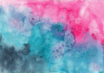 Watercolor abstract pink and emerald green background. Template for scrapbooking