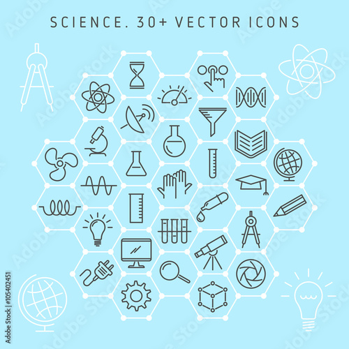 Vector Thin Line Icon Set Science Lab And Scientific Research