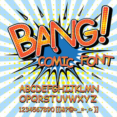 Alphabet collection set. Comic pop art style. Letters, numbers and figures for kids' illustrations, websites, comics, banners.