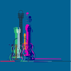 Guitars silhouette and linear colorful banner design , vibrant colorful classic guitar , place for text,concept illustration.