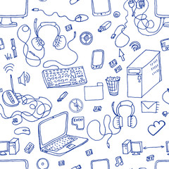 A vector seamless pattern of hand drawn doodles of electronic gadgets. Computer, laptop, monitor