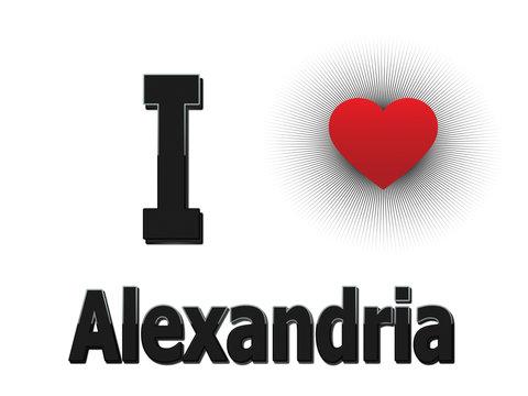 White background vector - I love Alexandria!
