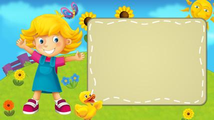 Nature scene with a kid - frame - illustration for children