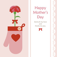 Mothers day Mitten & a carnation