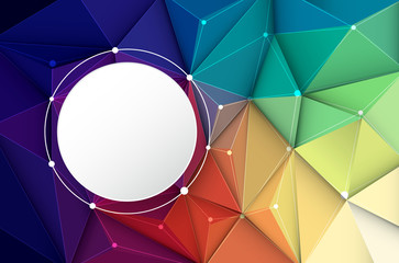 Vector illustration white paper circle label on Abstract 3D Geometric, Polygonal, Triangle pattern shape and multicolored,blue, purple, yellow and green background