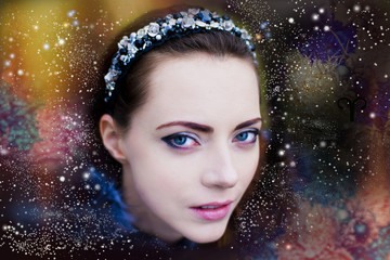 Female portrait in space, the fantastic lady