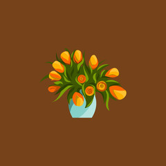 Spring flowers in vase, bouquet vector flat icons.