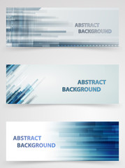 Abstract technology horizontal banners in set. Financial busines
