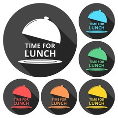 Time For Lunch icons set with long shadow