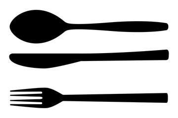 Vector: Cutlery set. Fork, spoon, knife. Kitchenware icon