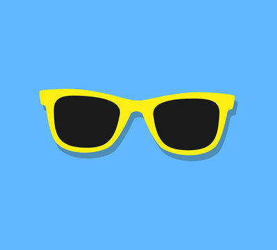 Vector Sunglasses Icon. Yellow sunglasses on blue background