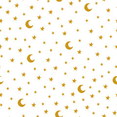 Seamless pattern with cartoon stars and moon on white background