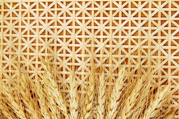 wheat grain ears and Bamboo Mat Texture Background