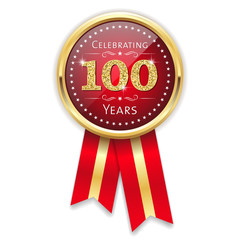 Red celebrating 100 years badge, rosette with gold border and ribbon