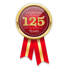 Red celebrating 125 years badge, rosette with gold border and ribbon