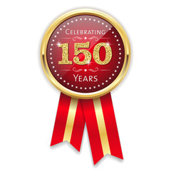 Red celebrating 150 years badge, rosette with gold border and ribbon