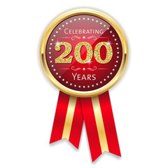 Red celebrating 200 years badge, rosette with gold border and ribbon