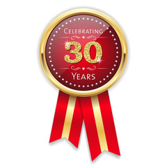 Red celebrating 30 years badge, rosette with gold border and ribbon