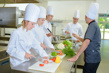 Students in a cookery class
