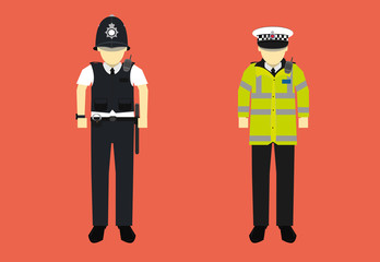 vector illustration of United kingdom police officer character