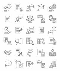 Legal icons, linear, monotone.