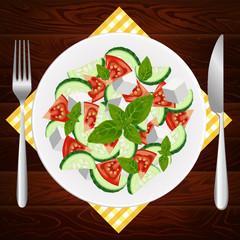 PLATE FORK KNIFE DIET GREEK FETA BASIL