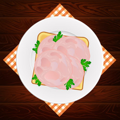 PLATE NAPKIN HAM PARSLEY SANDWICH WOOD TEXTURE