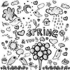 clip art  spring black&white illustrations
